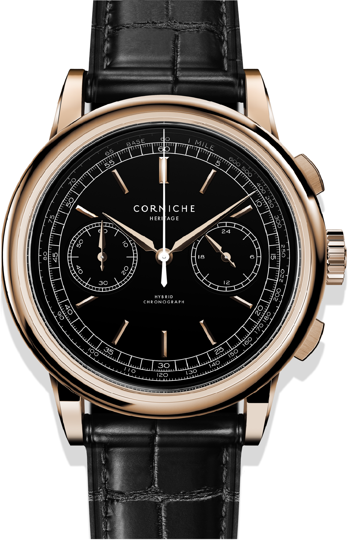 Image of   Corniche Heritage Chronograph Rose Gold with Black dial