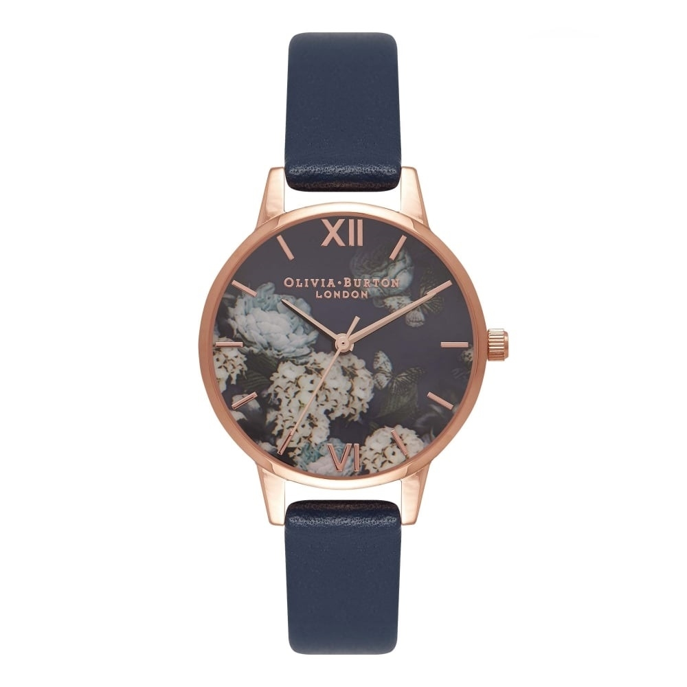 Image of   Olivia Burton 30mm Signature Navy And Rose Gold