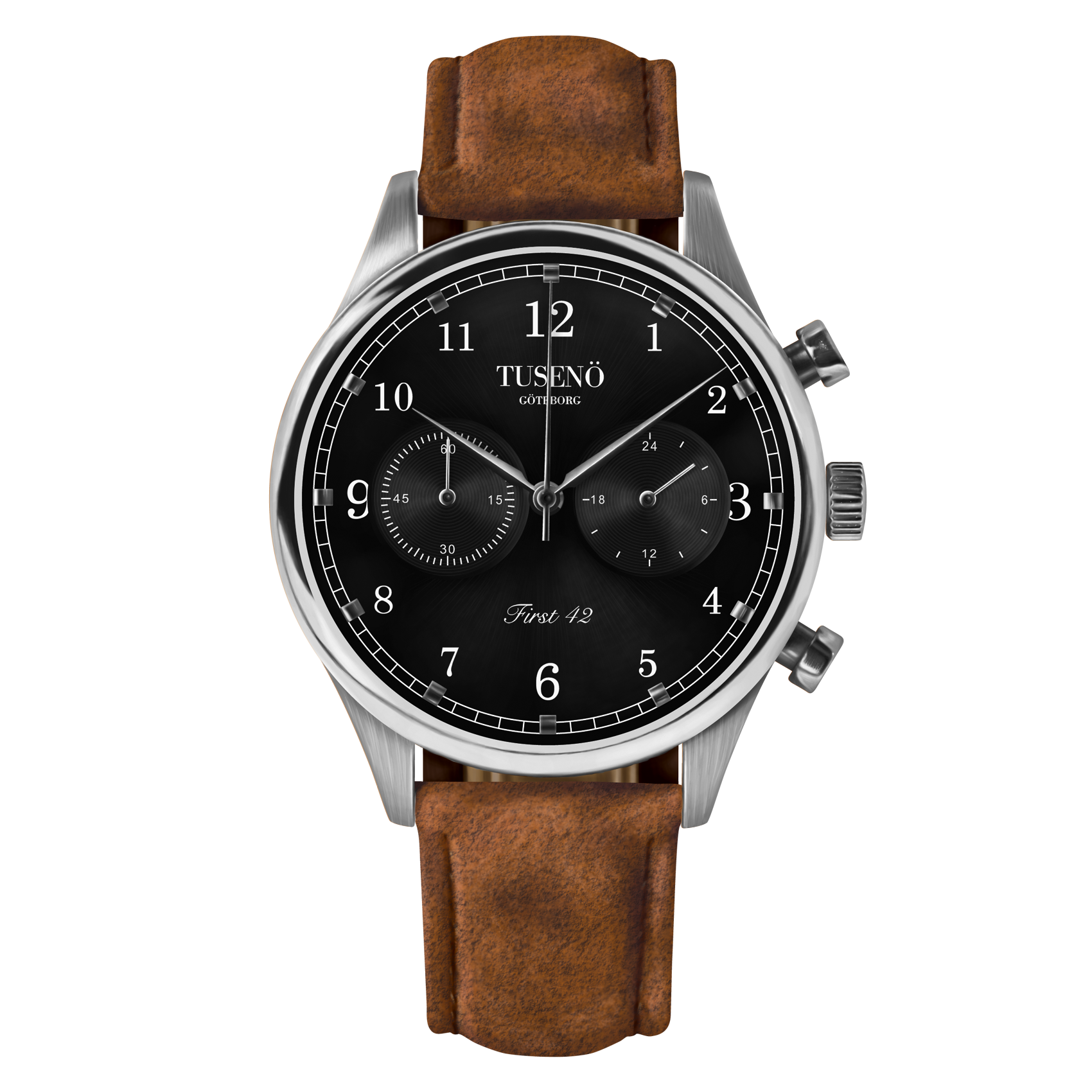 Image of   Tusenö FIRST 42 SILVER/BLACK BROWN SUEDE STRAP