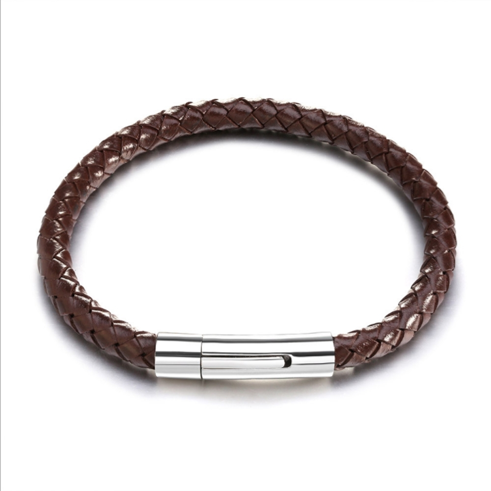 Image of   Simpelt brunt læder armbånd