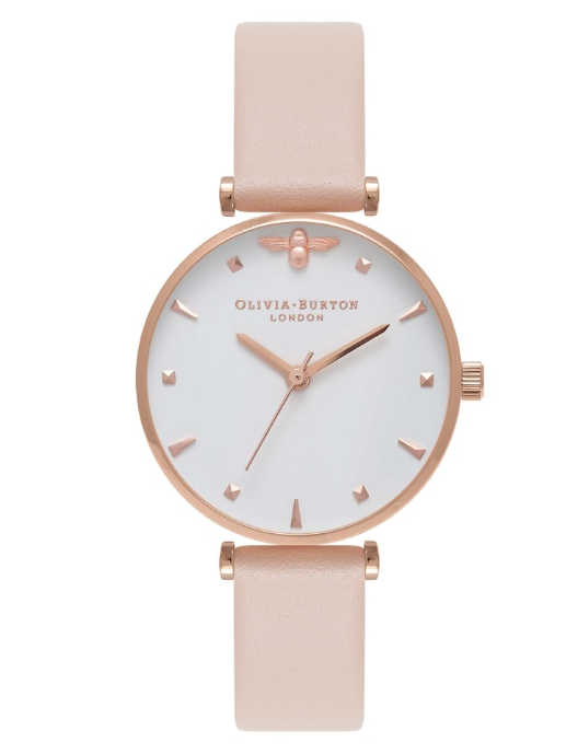 Image of   Olivia Burton Queen Bee T-Bar Nude Peach & Rose Gold