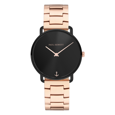 Image of   Paul Hewitt Black Sunray Metal Strap IP Rose Gold