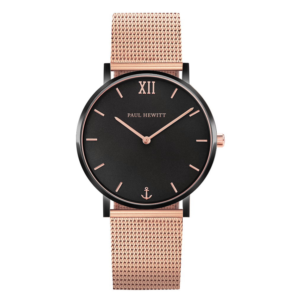 Paul Hewitt Sailor Line Black Sunray Mesh Strap Rose Gold