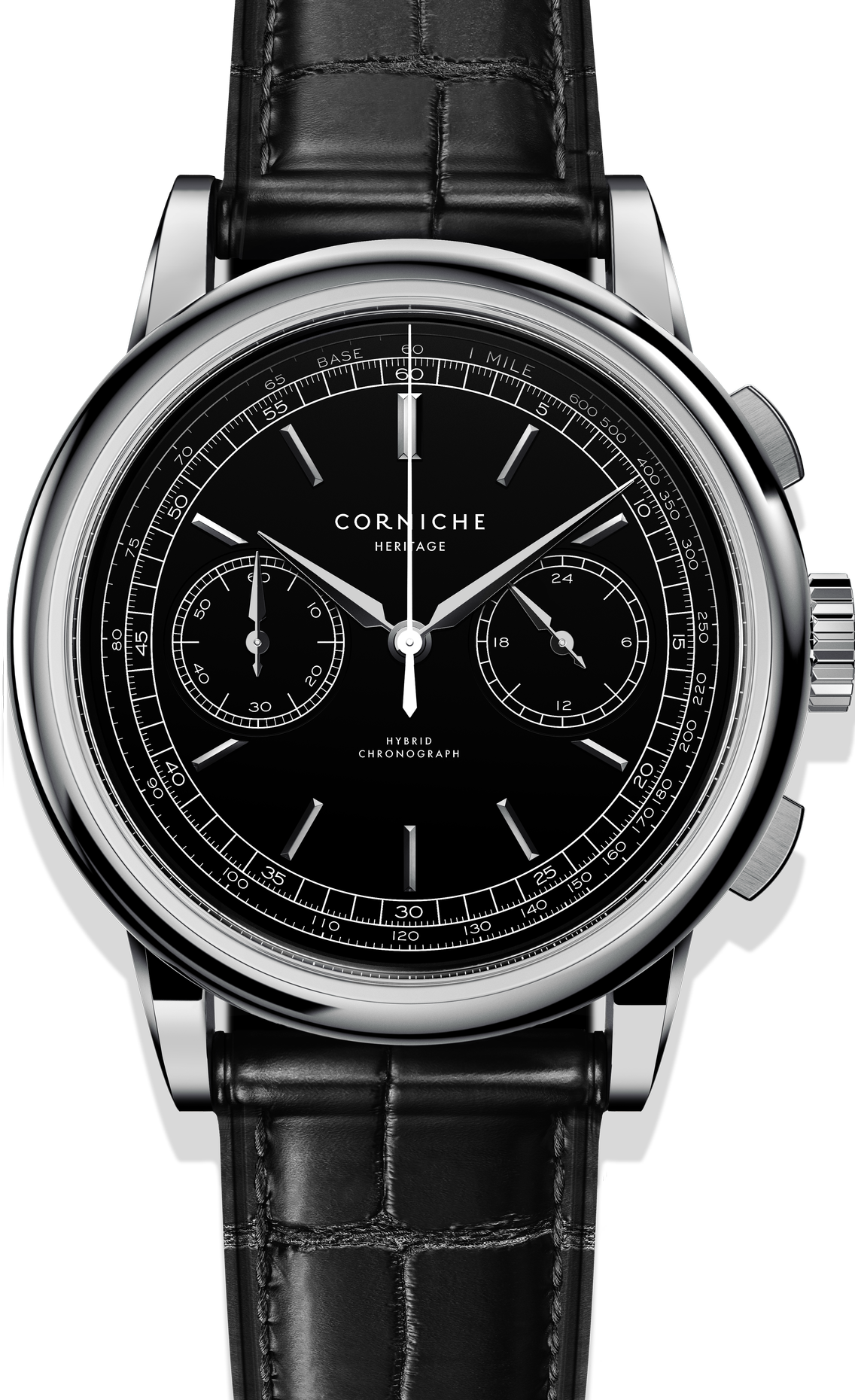 Image of   Corniche Heritage Chronograph Steel with Black dial
