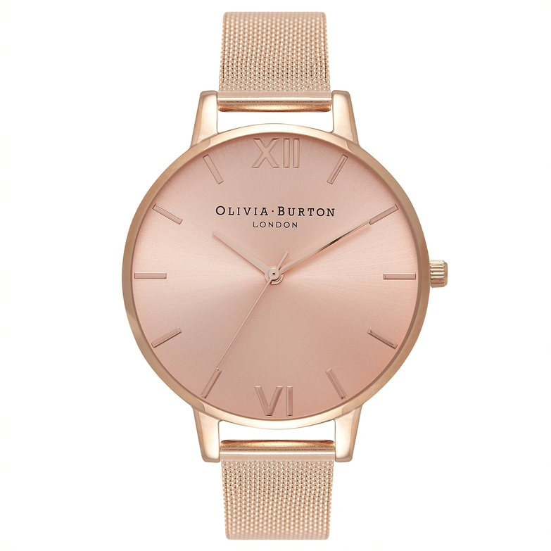 Image of   Olivia Burton Sunray Big Dial Rose Gold Mesh